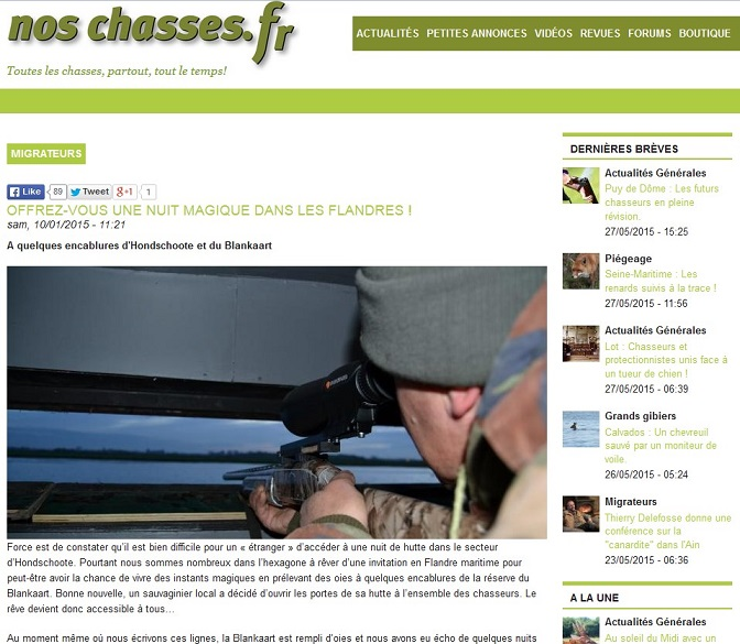 Article de presse de noschasses.fr